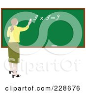 Royalty Free RF Clipart Illustration Of A Female Teacher Writing A Math Equation On A Chalk Board