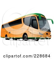 Royalty Free RF Clipart Illustration Of An Orange Tourist Bus by leonid