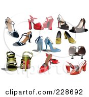 Royalty Free RF Clipart Illustration Of A Digital Collage Of Fashionable High Heel Shoes