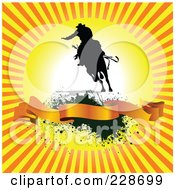 Royalty Free RF Clipart Illustration Of A Cowboy At Sunrise Over A Blank Banner