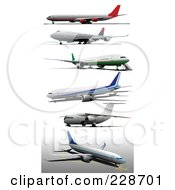 Royalty Free RF Clipart Illustration Of A Digital Collage Of Commercial Airliners 1