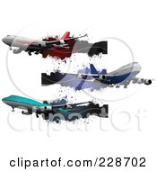 Royalty Free RF Clipart Illustration Of A Digital Collage Of Commercial Airliner And Grunge Banners