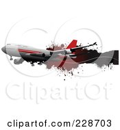 Royalty Free RF Clipart Illustration Of A Commercial Airliner And Grunge Banner 1
