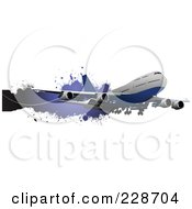 Royalty Free RF Clipart Illustration Of A Commercial Airliner And Grunge Banner 2