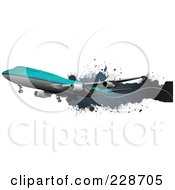 Royalty Free RF Clipart Illustration Of A Commercial Airliner And Grunge Banner 3