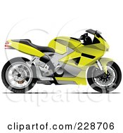 Royalty Free RF Clipart Illustration Of A Yellow And Black Motorcycle
