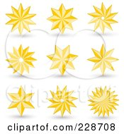 Digital Collage Of Golden Christmas Stars With Shadows