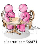 Clipart Illustration Of Two Pink Businessmen Sitting At A Table Discussing Papers by Leo Blanchette