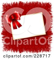 Royalty Free RF Clipart Illustration Of A Red Bow Over A Blank Tag On Red Fleur De Lys And White Grunge Borders by KJ Pargeter