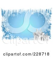 Royalty Free RF Clipart Illustration Of Icicles Hanging Down Over Silver Christmas Presents And Snow Grunge On Blue