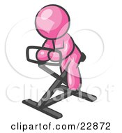 Clipart Illustration Of A Pink Man Exercising On A Stationary Bicycle