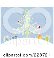 Royalty Free RF Clipart Illustration Of Winter Robins On A Christmas Tree On A Hill Over Presents Against Blue