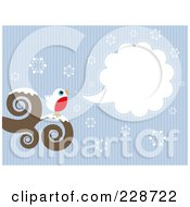 Royalty Free RF Clipart Illustration Of A Cute Robin Bird Perched On A Swirl Branch With A Word Balloon Over Snowflakes And Blue Lines by KJ Pargeter