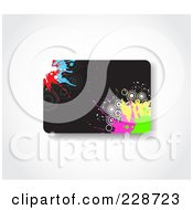 Royalty Free RF Clipart Illustration Of A Black Gift Card With Colorful Splatters And Circles
