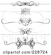 Royalty Free RF Clipart Illustration Of A Digital Collage Of Decorative Black And White Page Dividers by KJ Pargeter