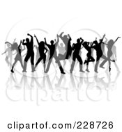 Royalty Free RF Clipart Illustration Of A Group Of Silhouetted Dancers And Reflections On White