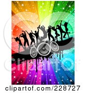 Royalty Free RF Clipart Illustration Of Silhouetted Dancers On A Black Grunge Speaker Bar Over A Starry Rainbow Burst by KJ Pargeter