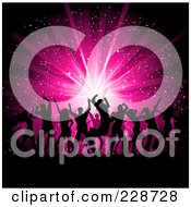 Royalty Free RF Clipart Illustration Of A Background Of Silhouetted Dancers Against A Pink Burst