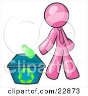 Clipart Illustration Of A Pink Man Tossing A Plastic Container Into A Recycle Bin Symbolizing Someone Doing Their Part To Help The Environment And To Be Earth Friendly