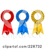 Royalty Free RF Clipart Illustration Of 3d Red Blue And Gold Rosette Ribbon Awards With Copyspace