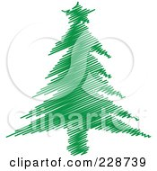 Royalty Free RF Clipart Illustration Of A Green Scribble Styled Christmas Tree 8
