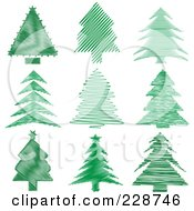 Digital Collage Of Green Scribble Styled Christmas Trees