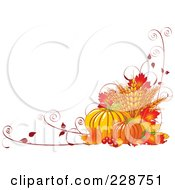 Fall Harvest Background Of Wheat Pumpkins Vines And Autumn Leaves With Copyspace