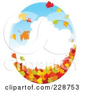 Royalty Free RF Clipart Illustration Of An Oval Design With A Cloudy Sky And Autumn Leaves