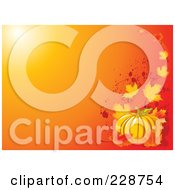 Royalty Free RF Clipart Illustration Of An Orange Background With A Corner Of Autumn Leaves Grunge And A Pumpkin