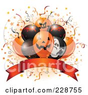 Royalty Free RF Clipart Illustration Of Halloween Balloons And A Blank Banner