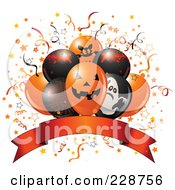 Royalty Free RF Clipart Illustration Of Halloween Balloons Over A Blank Banner by Pushkin