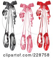 Digital Collage Of Pairs Of Black Pink And Red Satin Ballet Slippers Hanging With Bows
