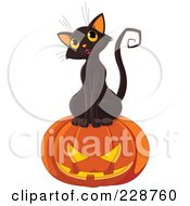 Royalty Free RF Clipart Illustration Of A Cute Black Kitten With A Jackolantern 1