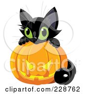 Royalty Free RF Clipart Illustration Of A Cute Black Kitten With A Jackolantern 2