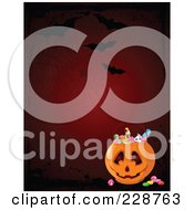 Royalty Free RF Clipart Illustration Of A Spider Web With Bats Over A Halloween Candy Pumpkin Basket On Red
