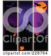 Royalty Free RF Clipart Illustration Of A Digital Collage Of Spooky Vertical Halloween Borders