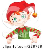 Christmas Elf Holding A Blank Sign