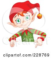 Royalty Free RF Clipart Illustration Of A Christmas Elf Holding And Pointing To A Blank Sign by Pushkin