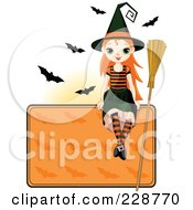 Royalty Free RF Clipart Illustration Of A Witch Girl Sitting On A Blank Halloween Sign With Bats by Pushkin