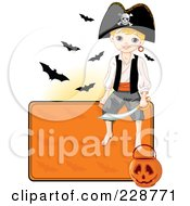 Royalty Free RF Clipart Illustration Of A Pirate Boy Sitting On A Blank Halloween Sign With A Pumpkin Basket And Bats by Pushkin