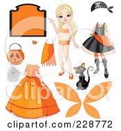 Royalty Free RF Clipart Illustration Of A Halloween Girl With Costumes And Items by Pushkin