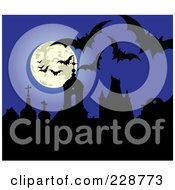 Royalty Free RF Clipart Illustration Of Bats And A Full Moon Above Silhouetted Gravestones Against A Blue Sky