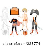 Royalty Free RF Clipart Illustration Of A Halloween Boy With Costumes And Items