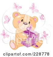 Teddy Bear Sitting With A Pink Gift Surrounded By Butterflies