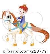 Royalty Free RF Clipart Illustration Of A Cute Prince Riding On A White Pony by Pushkin