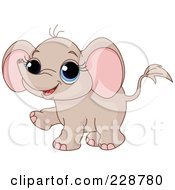 Royalty Free RF Clipart Illustration Of A Cute Baby Elephant Walking