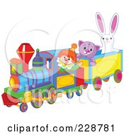 Royalty Free RF Clipart Illustration Of Toys Riding On A Train by Pushkin