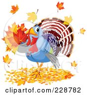Royalty Free RF Clipart Illustration Of A Turkey Bird With Autumn Leaves