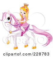 Royalty Free RF Clipart Illustration Of A Cute Princess Riding On A White Pony by Pushkin