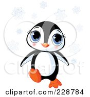 Royalty Free RF Clipart Illustration Of A Cute Baby Penguin With Snowflakes